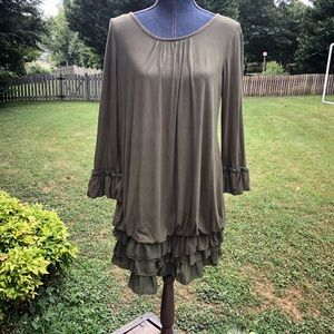 Christian Caliendo Green Tunic/Dress Size L Ruffle